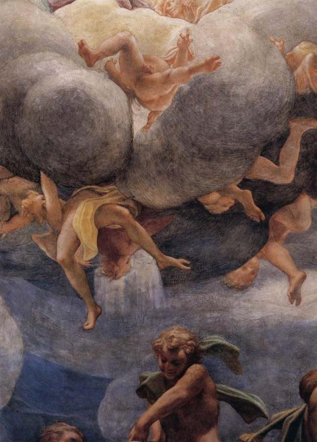 Assumption of the Virgin,details with Eve,angels,and putti