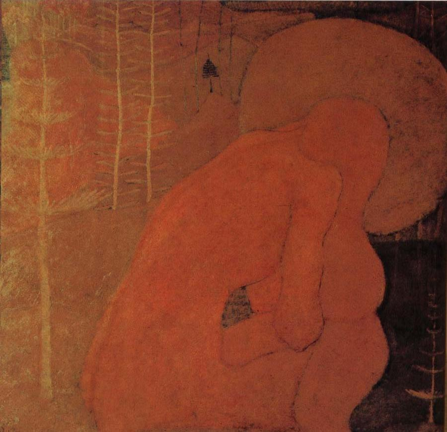 Nude of female in wold