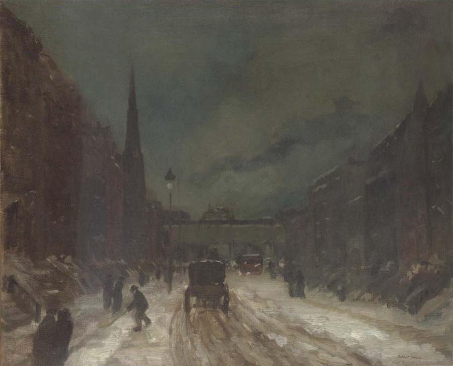 Street Scene in snowy dusk