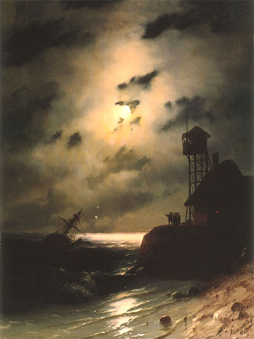 Moonlit Seascape with Shipwreck
