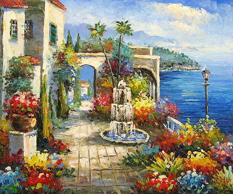 Mediterranean Patio oil paintings