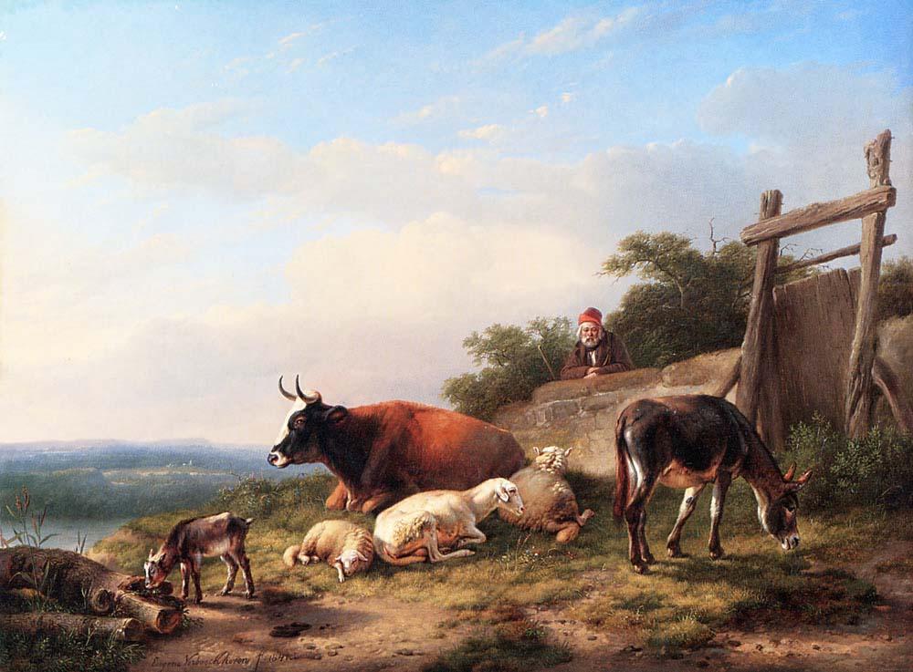 A Farmer Tending His Animals