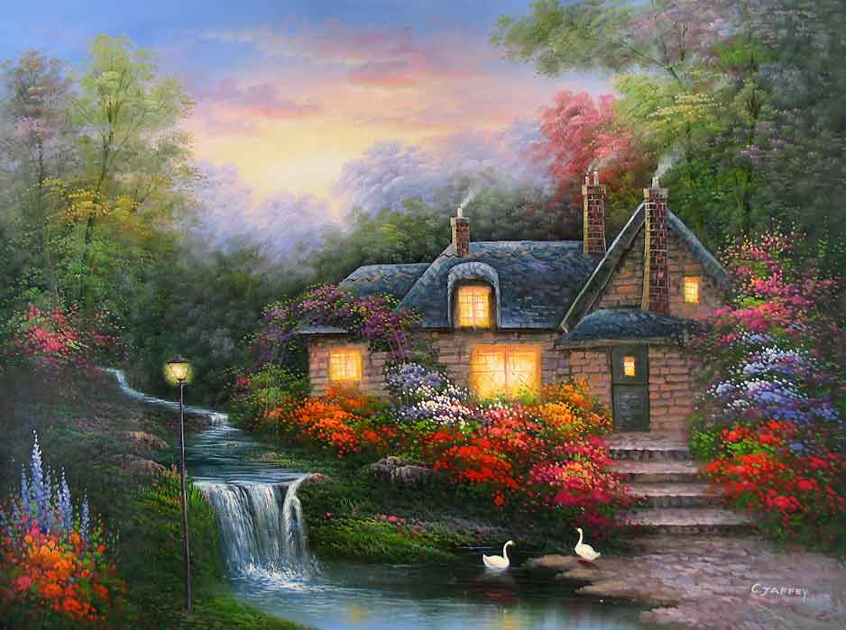 Evening at Swanbrooke Cottage