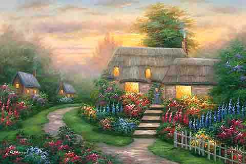 Wood View Cottage,oil paintings from photos