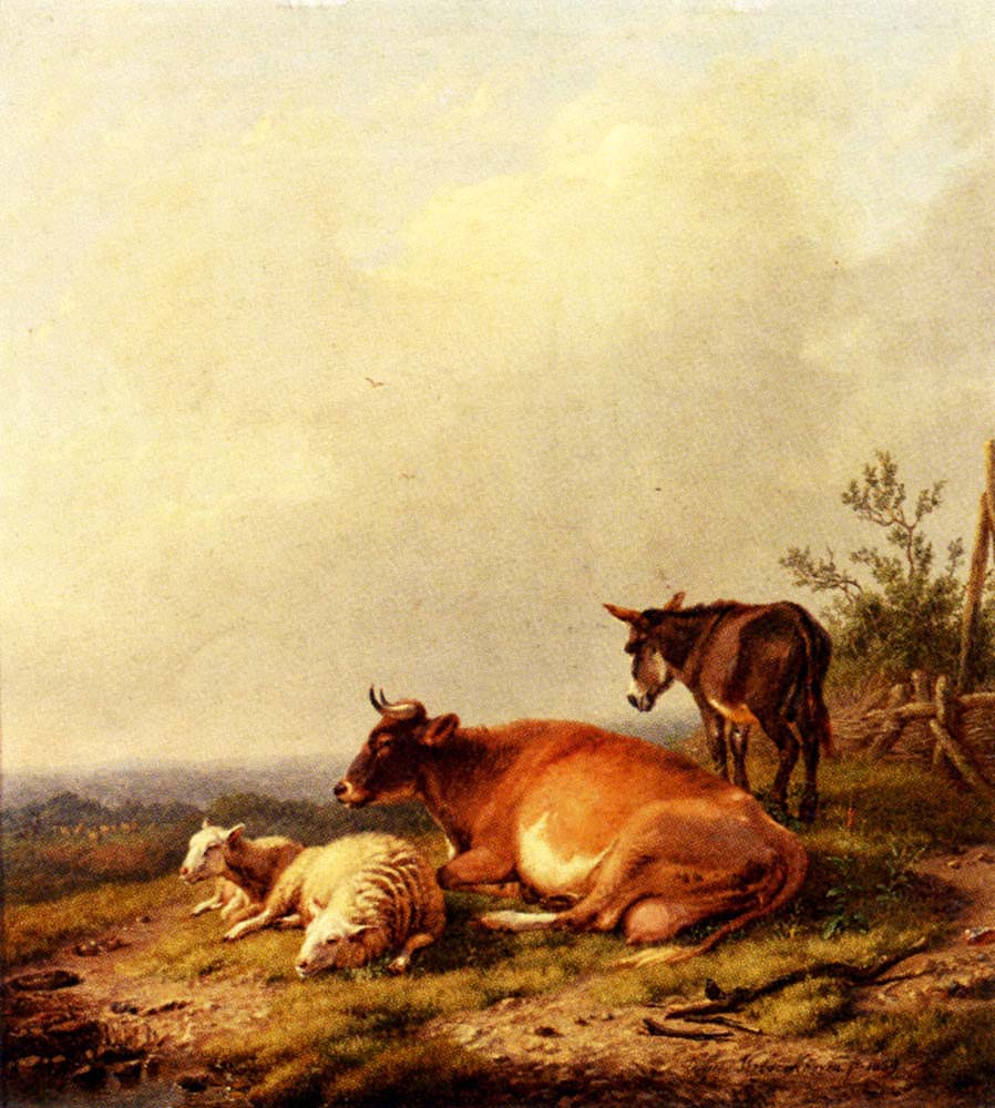 A Panoramic Summer Landscape with Cattle Grazing