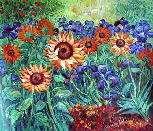 Golden Sunflowers and Irises