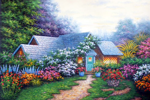 Summer Cottage in the Hills,oil paintings on canvas