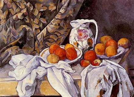 Still Life with Curtain and Flowered Pitcher