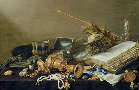 Vanitas Still Life with Overturned Gilded Cup and Chain