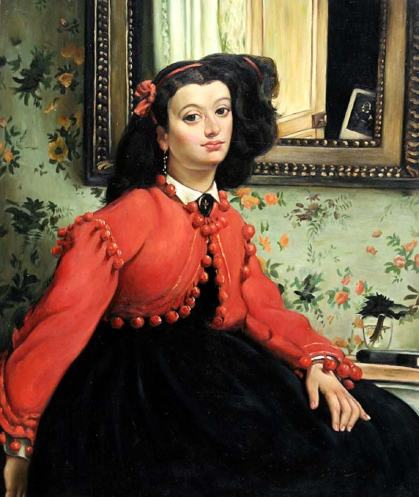 Woman with Black Hair and Red Jacket
