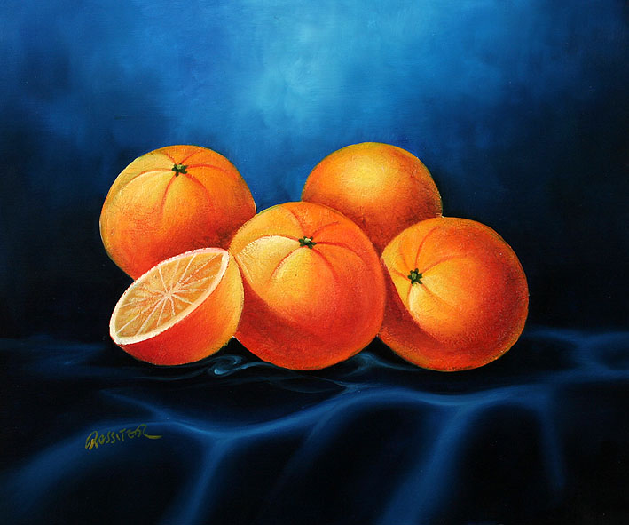 Oranges on a Tablecloth