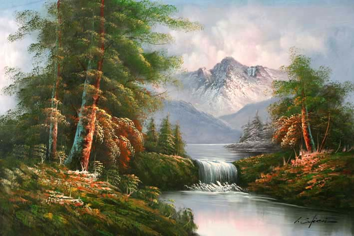 Classic mountain landscape oil paintings online for Oil painting scenery