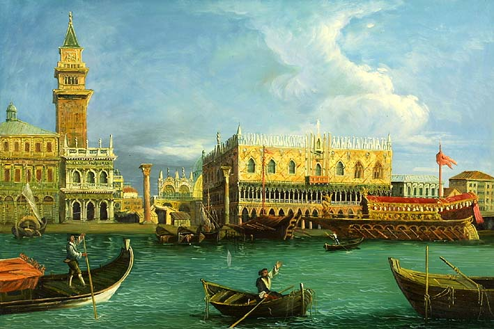 Boats on the Grand Canal in front of the Doges Palace