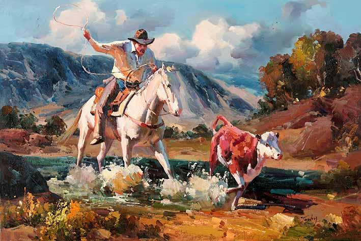 Cowboy Lassoes a Fleeing Calf