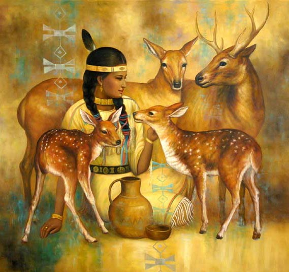 Girl with A Deer Family