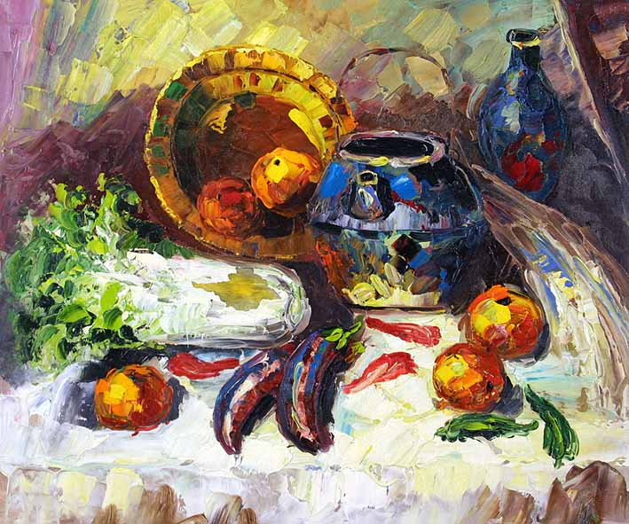 Still Life with Pottery, Vegetables, and Fruit Pieces