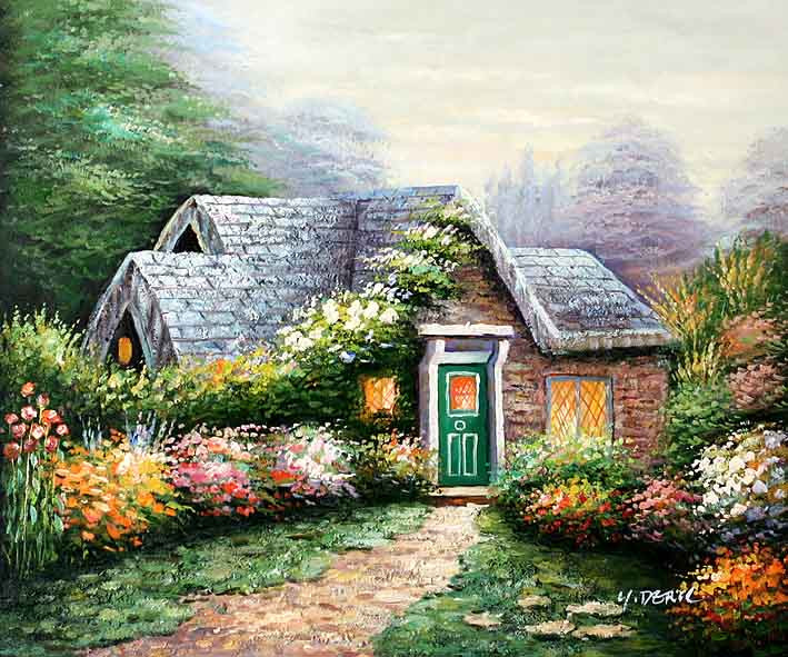 Wild flower garden oil paintings online for Garden painting images