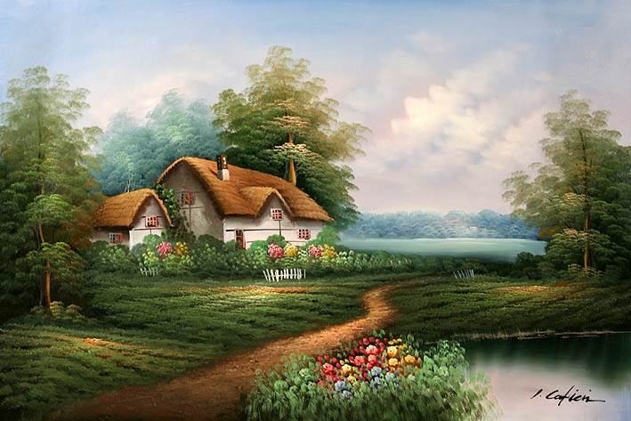 English Country Cottage Oil Paintings Sale
