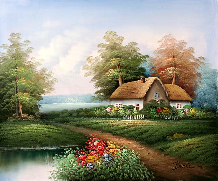 English Country Cottage oil paintings