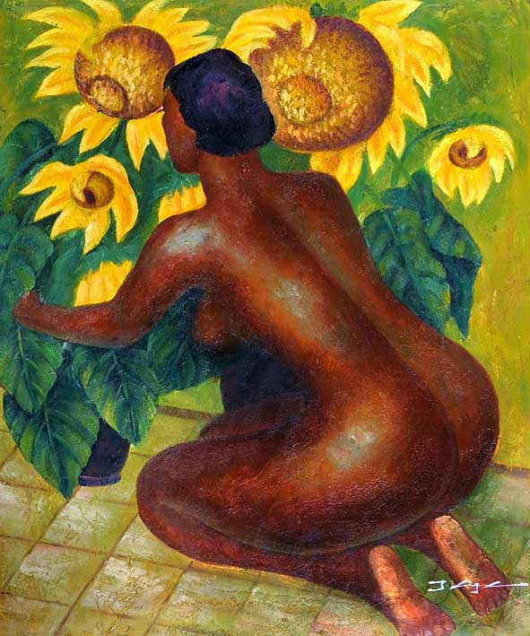 Nude with Sunflowers
