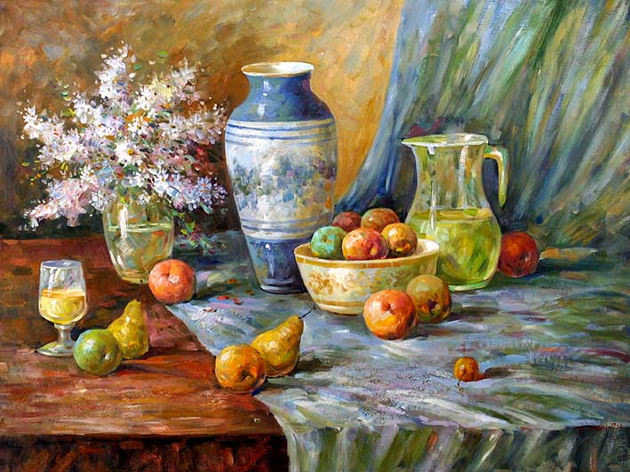 Still Life with Fruit and Flowers on Table,oil paintings online