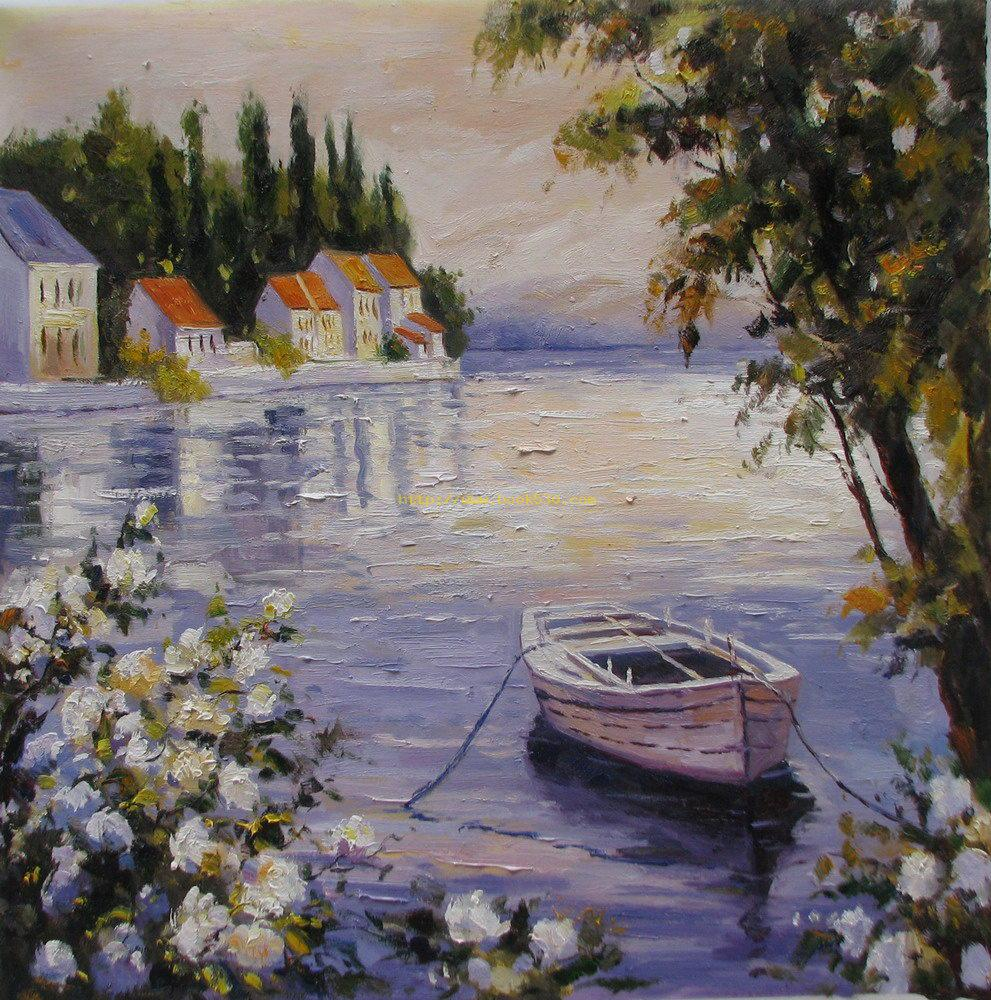 Impression flowers boat oil painting impression flowers for Oil paintings for the home