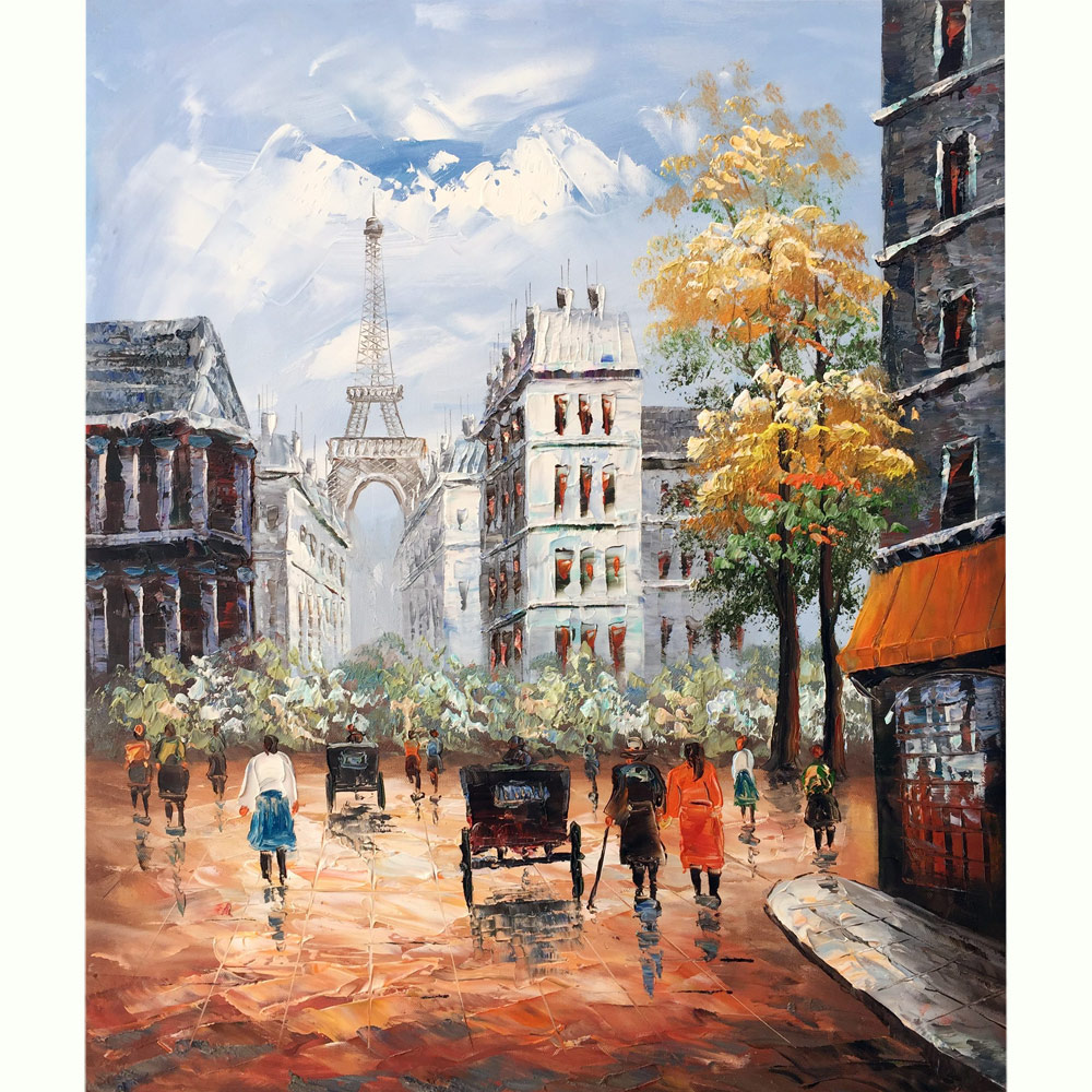 100% Hand painted canvas oil painting Paris Street View Eiffel Tower Romantic Love Autumn Paris Wall