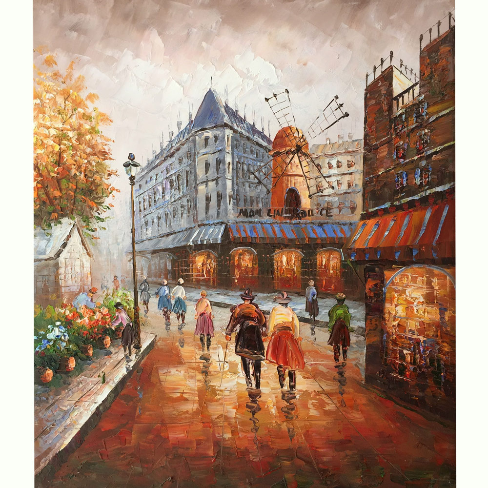 100% Hand-painted canvas oil paintings Paris Street View Romantic Windmill Wall Art for Bedroom