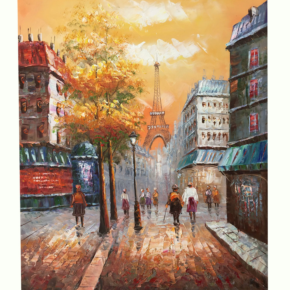 100% Hand-painted canvas oil painting, Paris Street View Eiffel Tower Wall Art for Bedroom Home