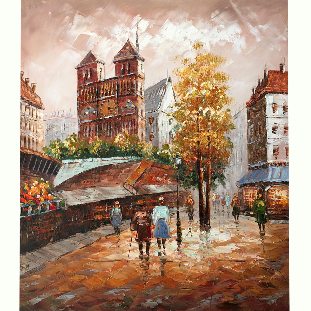 100% Hand-painted canvas oil painting, Paris Street View Romantic Love Autumn Wall Art for Bedroom