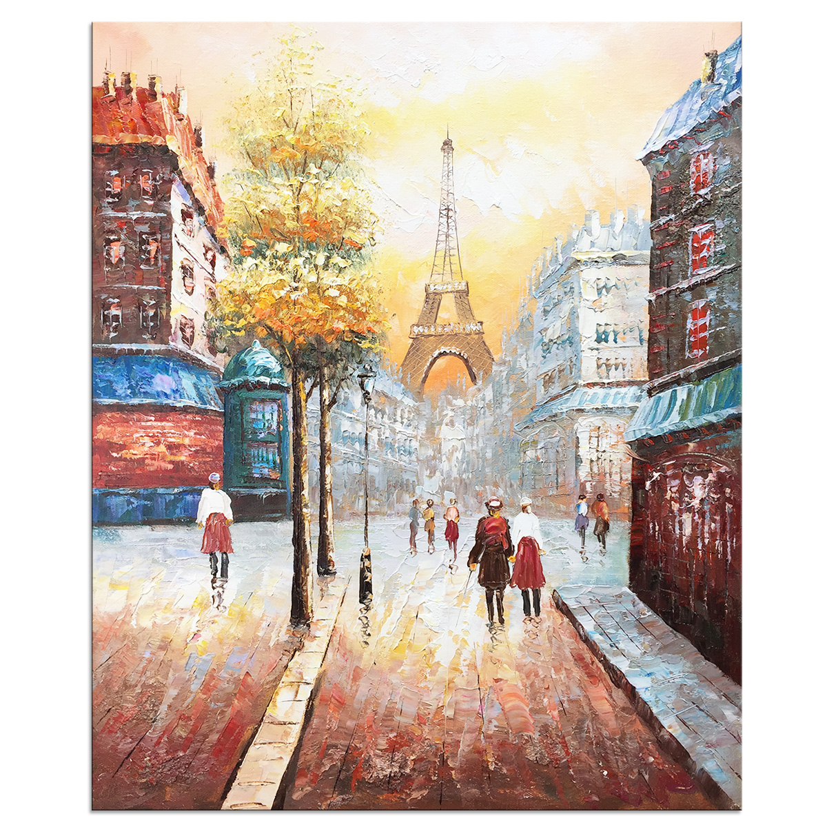 Hand Painted Gallery Wrapped Abstract Oil Paintings on Canvas Paris Street View Eiffel Tower Wall