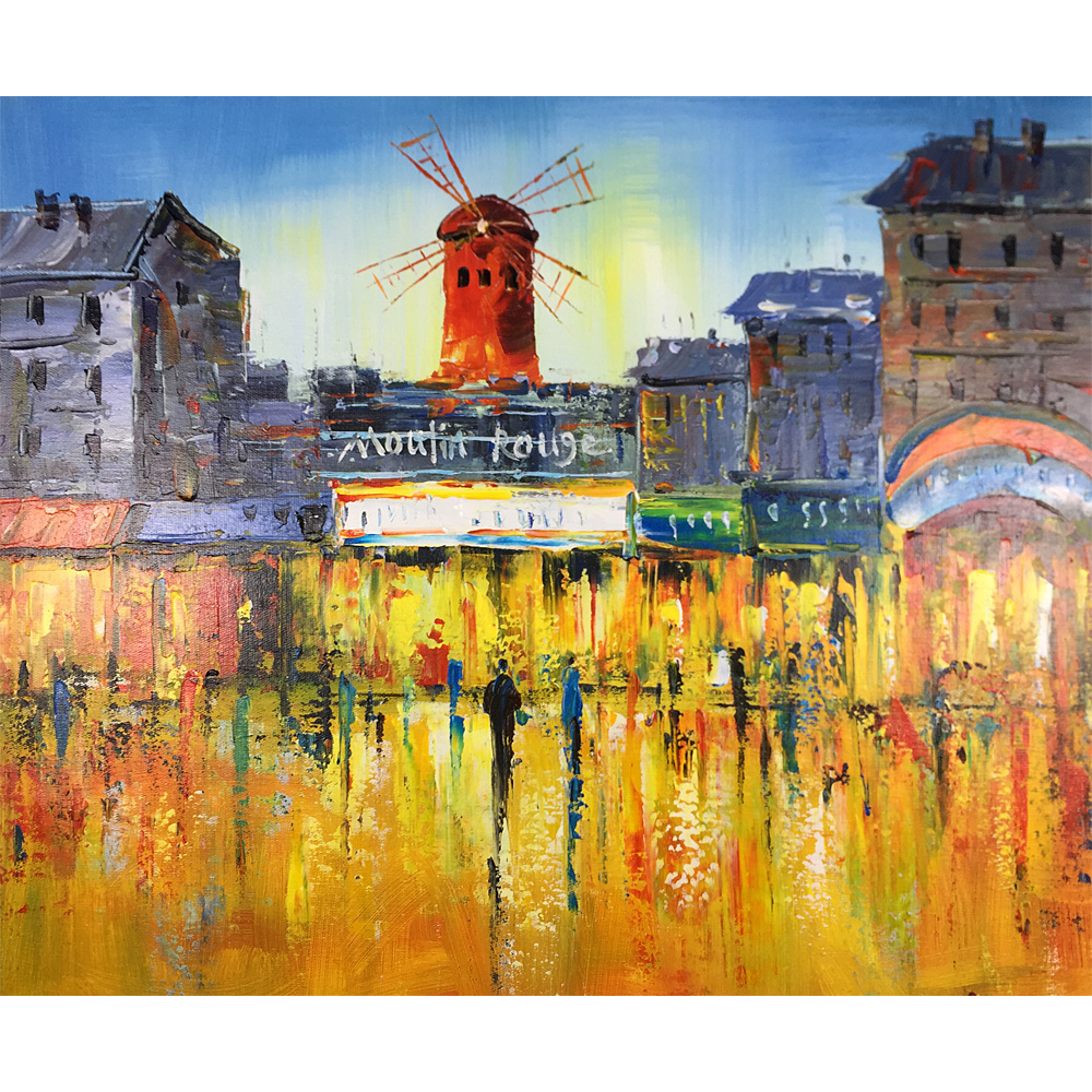Modern Art Windmill Street Hand Painted Abstract Landscape Oil Paintings on Stretched and Framed