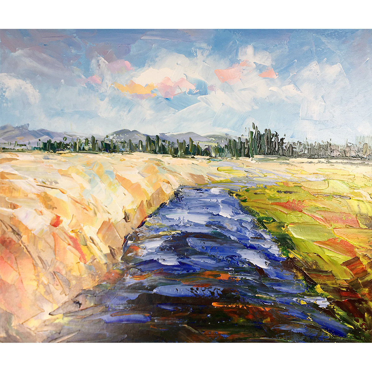 Original Oil Painting Hand-Painted Canvas Blue River Abstract Landscape Contemporary Wall Art Work