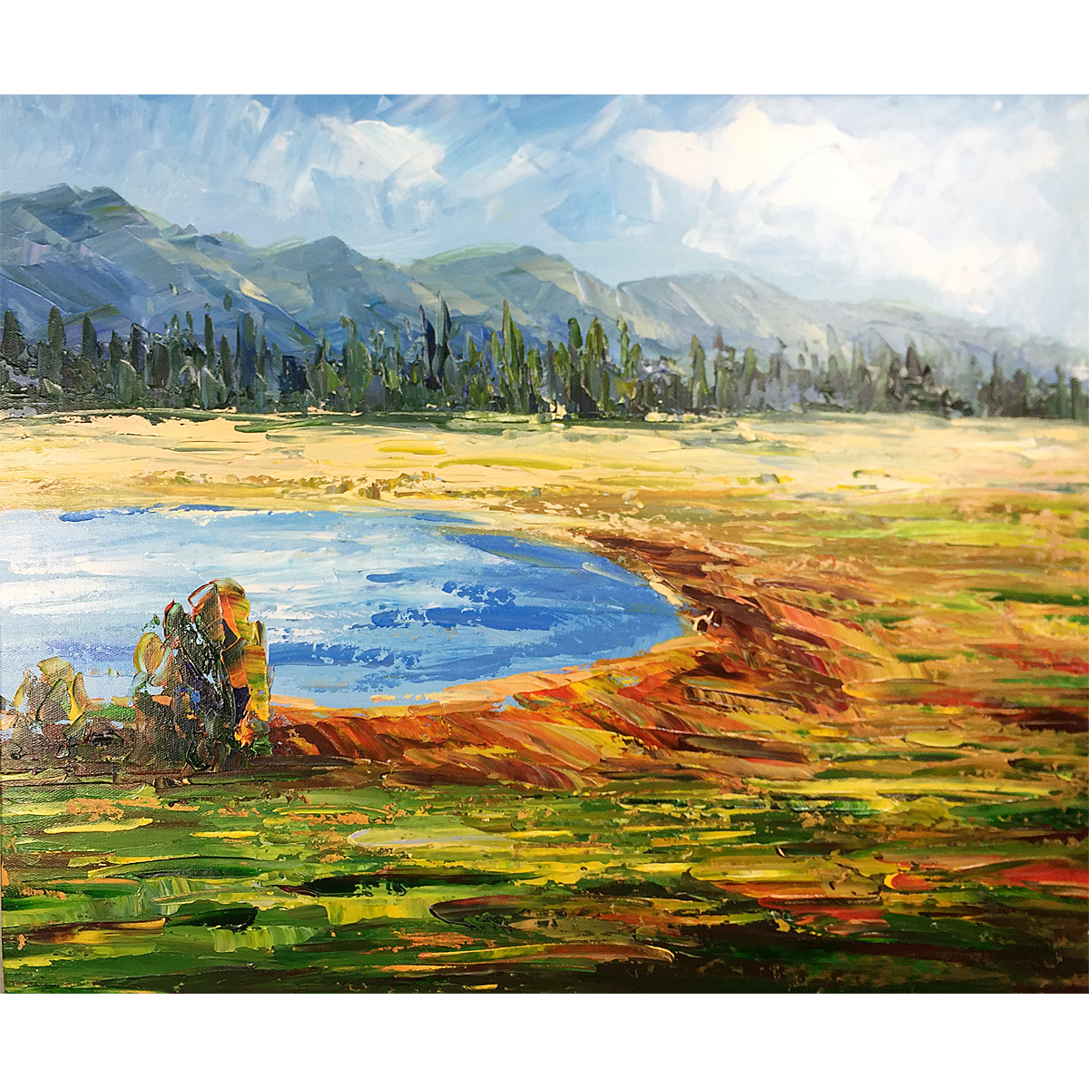 Yellowstone Park Original Oil Painting Hand Painted Canvas Abstract landscape Wall Art Modern