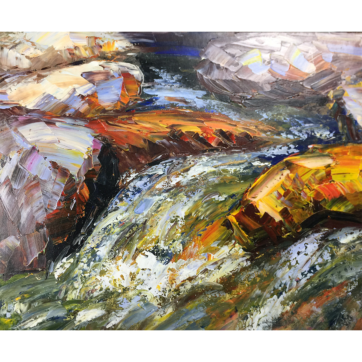 Abstract Landscape Painting Hand Painted Oil Painting Stone in the Stream Scenery Wall Art On Canvas