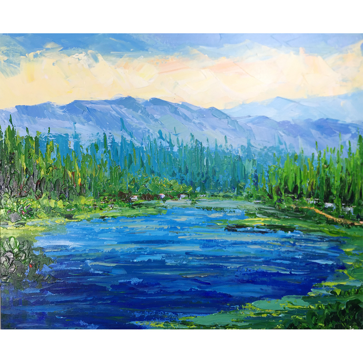Hand Painted Abstract Nature Landscape Oil Paintings on Canvas Rivers Woods Mountain Scenery Artwork