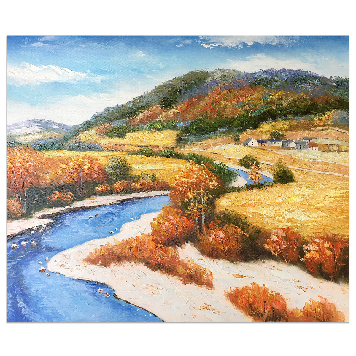Hand Painted Abstract River Landscape Artwork Oil Paintings on Canvas Wall Art for Living Room