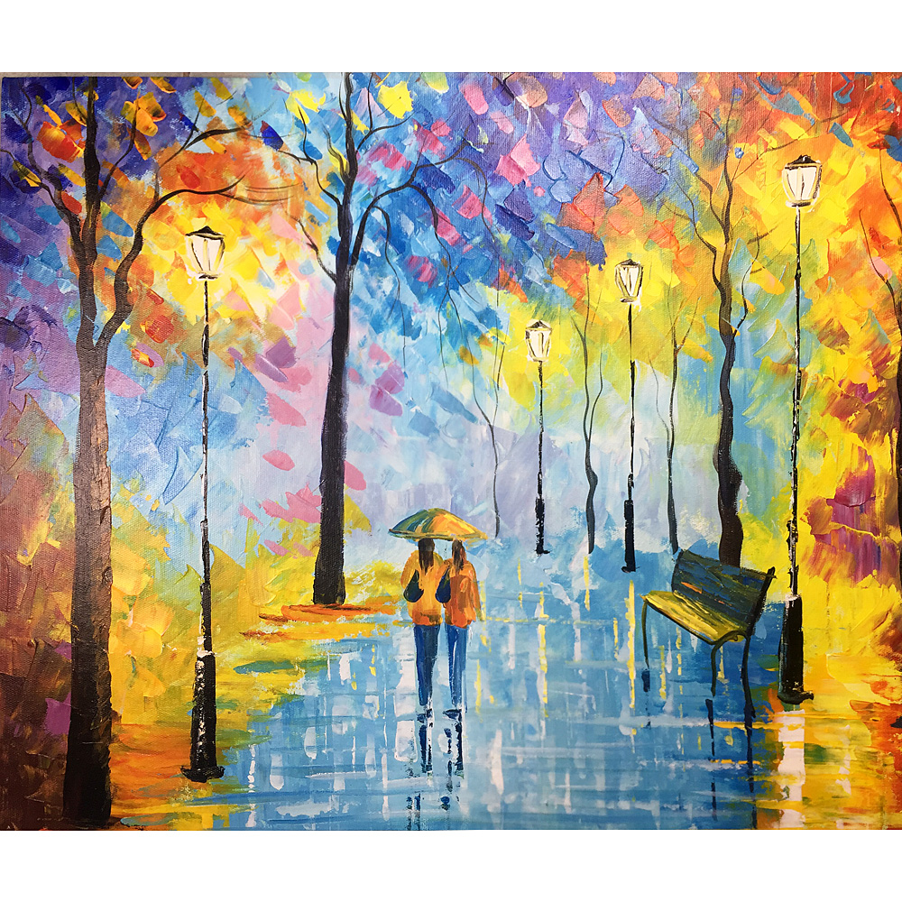 Hand Painted Oil Painting on Canvas Colorful Street Abstract Landscape Artwork Online Sisters stroll
