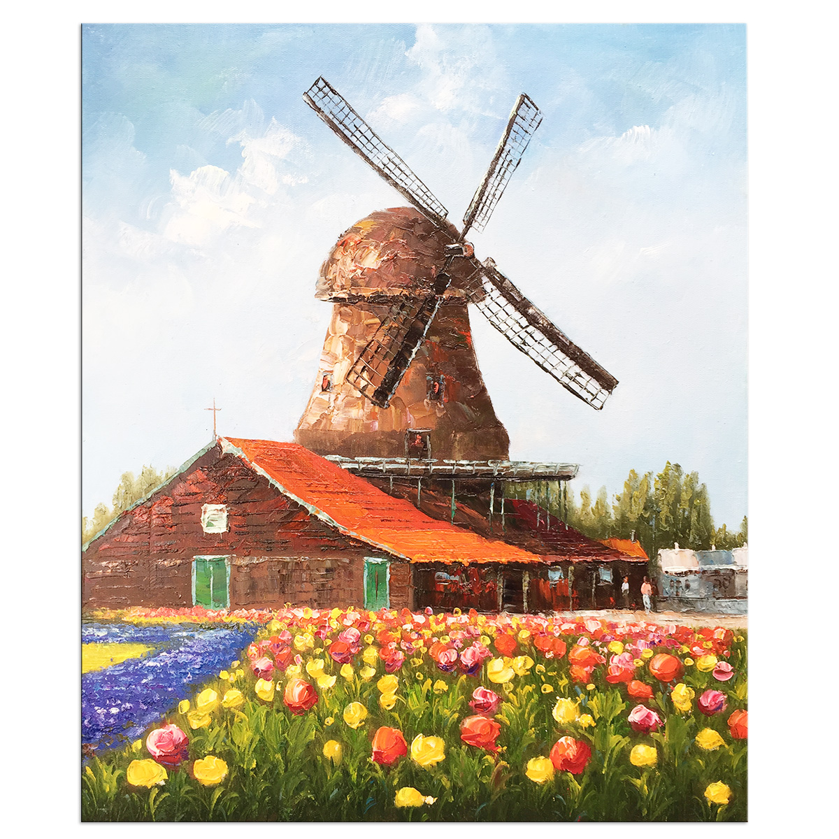 Hand Painted Oil Paintings Canvas Wall Art Modern Stretched and Framed Windmill Abstract Flowers