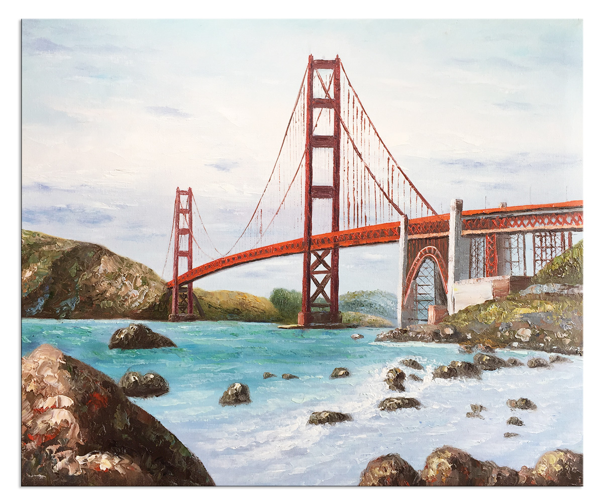 Hand Painted Stretched Framed Abstract Golden Gate Bridge Oil Paintings Reproduction Artwork on