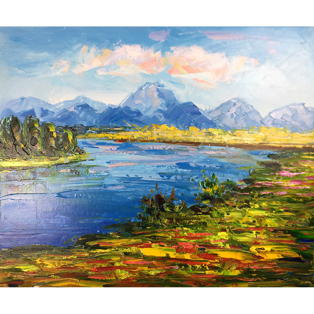 Hand Painted Stretched and Framed Abstract Original Landscape Oil Paintings on Canvas Rivers And