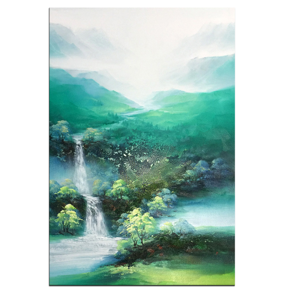 Hand-painted Mountains-and-waters Landscape oil painting on Canvas