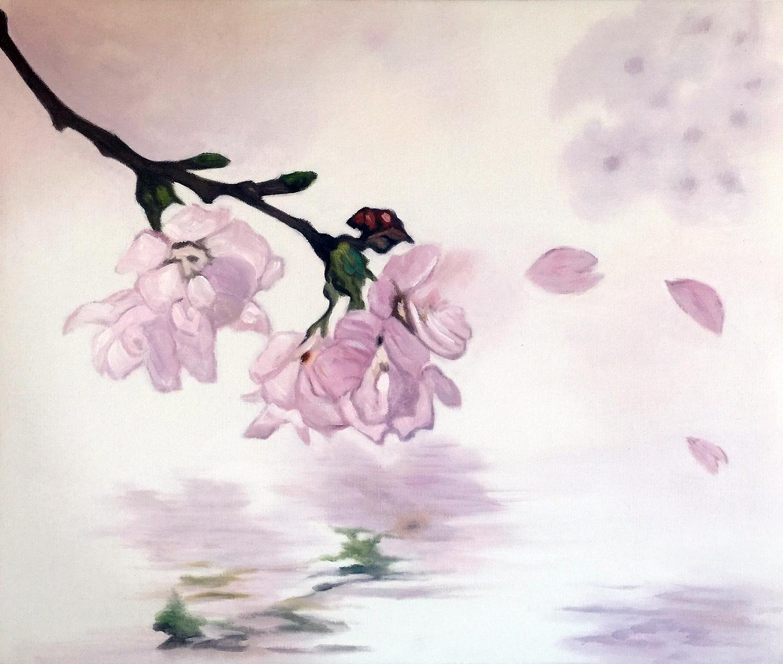 Hand painted Romantic sakura oil painting Original on Canvas