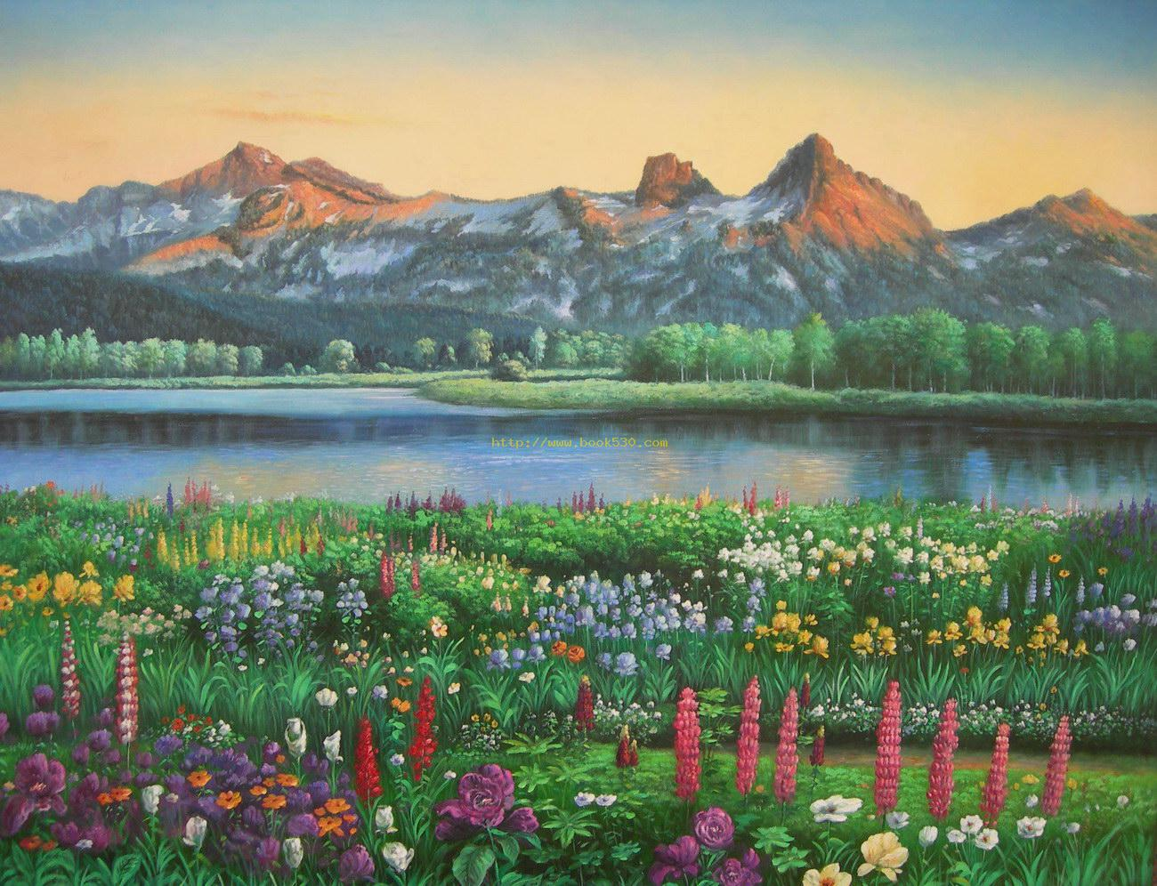 Lake snow flower landscape oil painting for Flower landscape