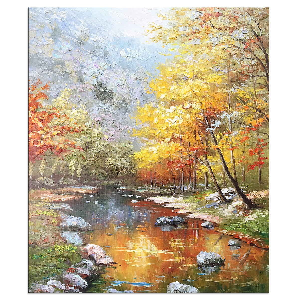 Modern Abstract Landscape Hand Painted Oil Painting Canvas Stretched Ready to Hang Nature Wall Art