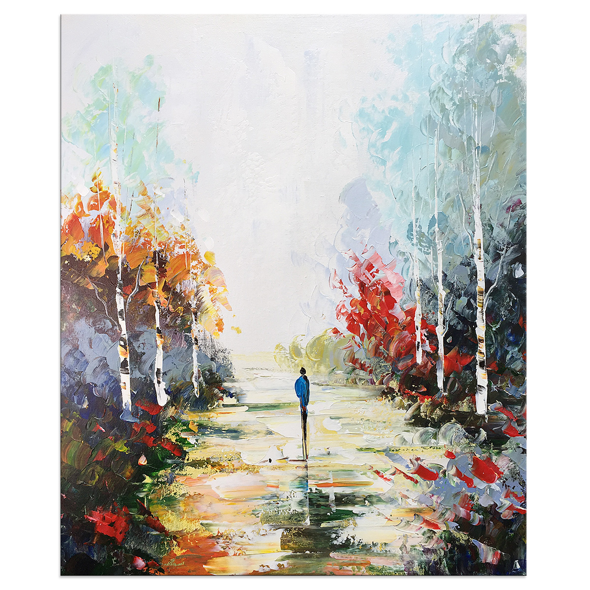 Modern Abstract Landscape Oil Painting On Canvas Tree-lined Trail Wall Art Deco Home Decoration Wood