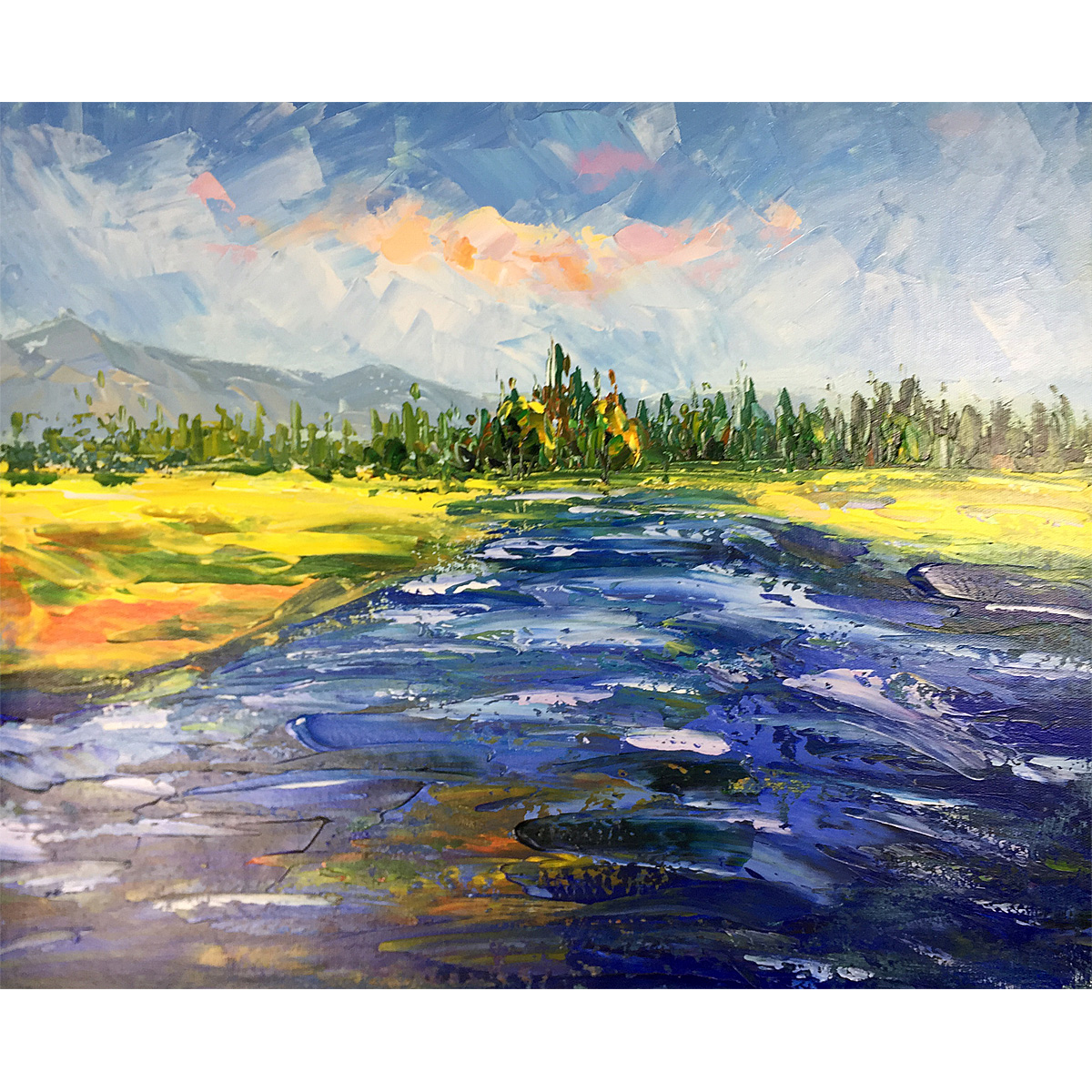 Modern Oil Paintings Clear River Scenery Abstract Painting on Canvas Hand Painted Wall Art Wood