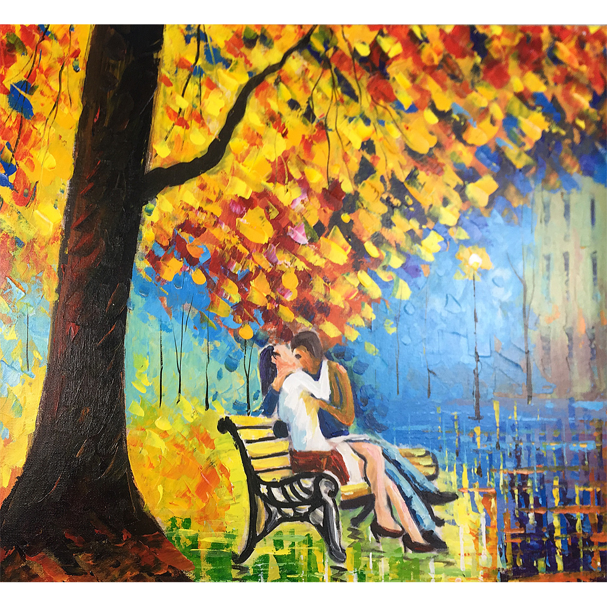 Modern Paintings Golden Leaves Abstract Hand Painted Oil Painting On Canvas Landscape Artwork Wood