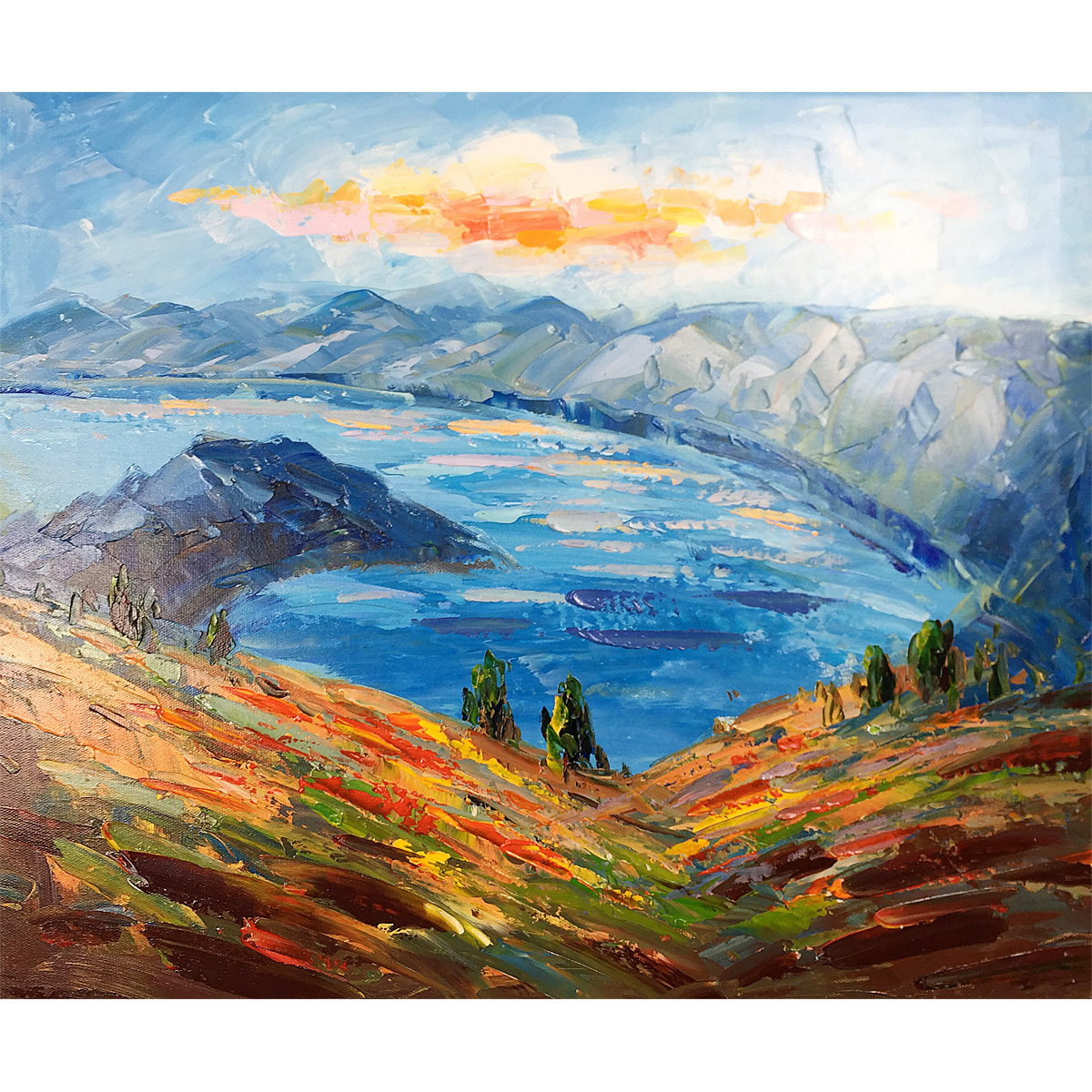 Original Oil Painting Hand-Painted Canvas Mountains and Lakes Abstract Landscape Artwork ornament
