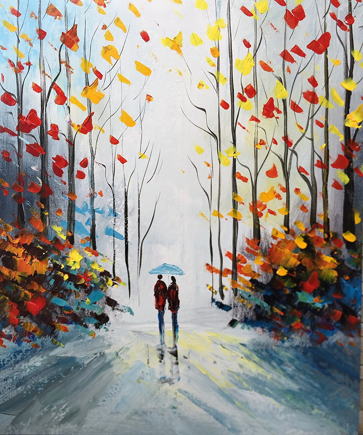 Woods And Roads Hand Painted Modern Gallery Wrapped Abstract Landscape Oil Paintings On Canvas Wall